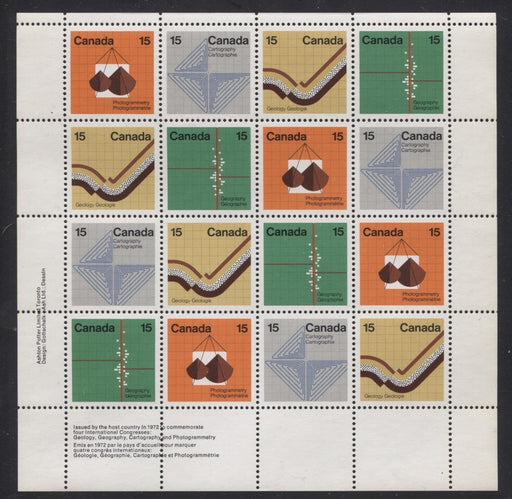 Canada #585a (SG#741a) 15c Multicoloured 1972 Earth Sciences LL Inscription Sheet MF/MF Paper VF-84 NH Brixton Chrome