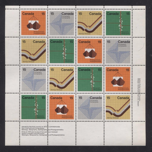 Canada #585a (SG#741a) 15c Multicoloured 1972 Earth Sciences LR Inscription Sheet LF/MF Paper VF-84 NH Brixton Chrome