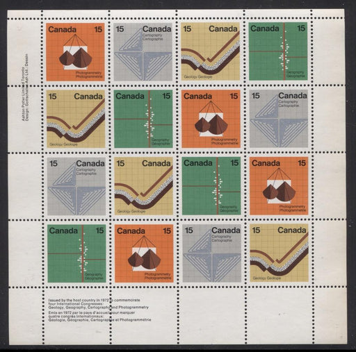 Canada #585a (SG#741a) 15c Multicoloured 1972 Earth Sciences UL Inscription Sheet LF/MF Paper VF-84 NH Brixton Chrome