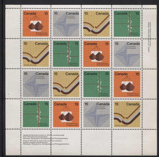 Canada #585a (SG#741a) 15c Multicoloured 1972 Earth Sciences UR Inscription Sheet LF/MF Paper VF-84 NH Brixton Chrome