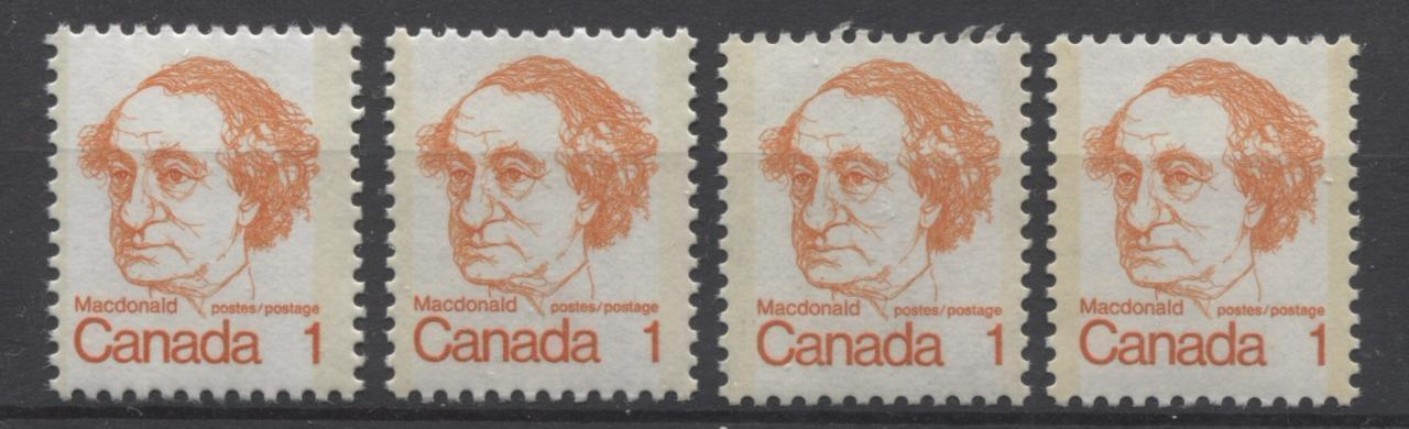 Canada #586 (SG#693) 1c Orange Macdonald 1972-1978 Caricature Issue LF Paper Types 4, 5, 7 & 8 F-70 NH Brixton Chrome