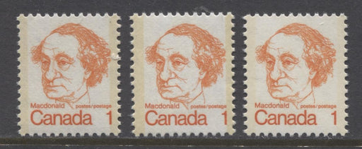 Canada #586ii (SG#693) 1c Orange Macdonald 1972-1978 Caricature Issue 1972-1977 Caricature 3 Different Papers VF-80 NH Brixton Chrome