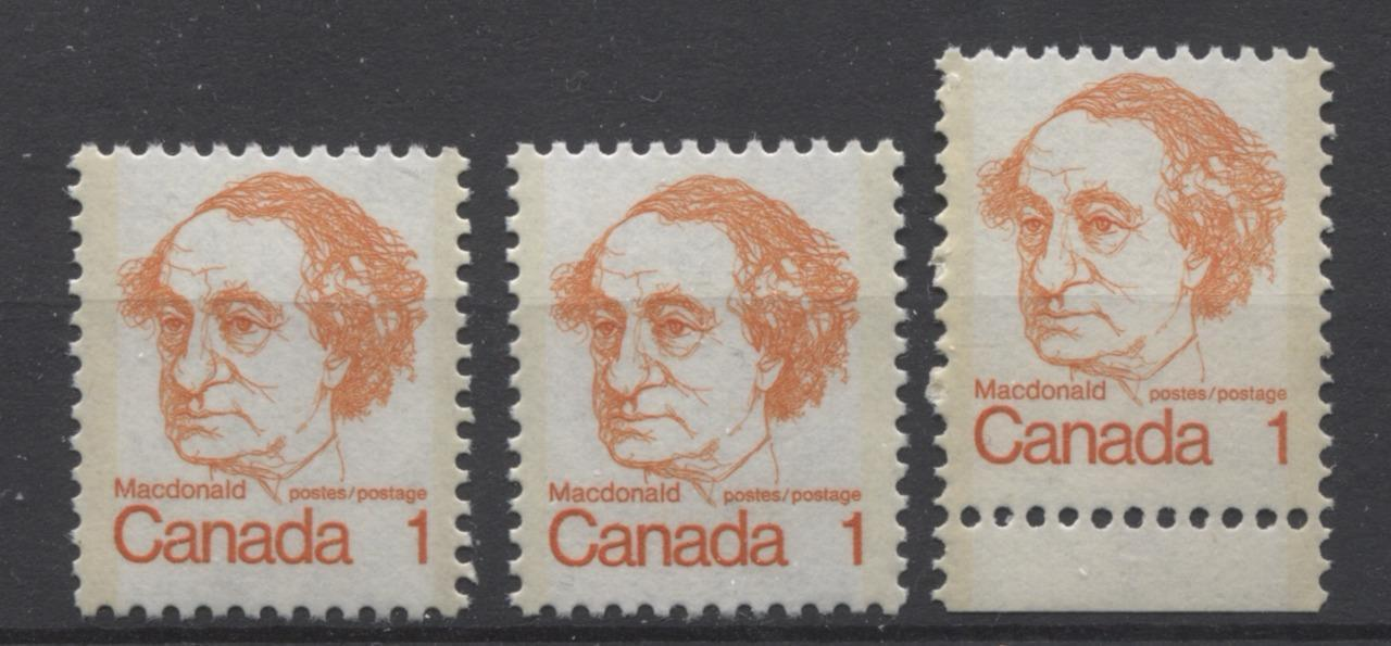 Canada #586/ii (SG#693) 1c Orange Macdonald 1972-1978 Caricature Issue LF & DF Paper 3 Types VF-75 NH Brixton Chrome