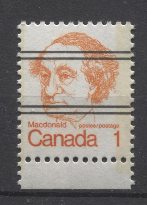 Canada #586xxi (SG#693) 1c Macdonald 1972-1978 Caricature Issue Precancel Horizontal LF Paper Type 1 VF-75 NH Brixton Chrome