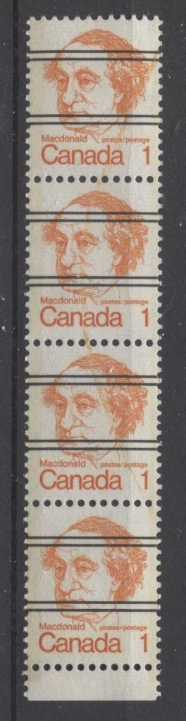 Canada #586xxii (SG#693) 1c Macdonald 1972-1978 Caricature Issue Precancel Horiz Ribed Paper Type 1 Ink Smears VF-80 NH Brixton Chrome