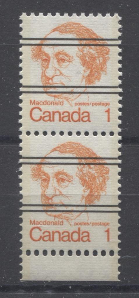 Canada #586xxii (SG#693) 1c Macdonald 1972-1978 Caricature Issue Precancel Horizontal Ribbed Paper Type 1 Elliptical Perf. VF-80 NH Brixton Chrome