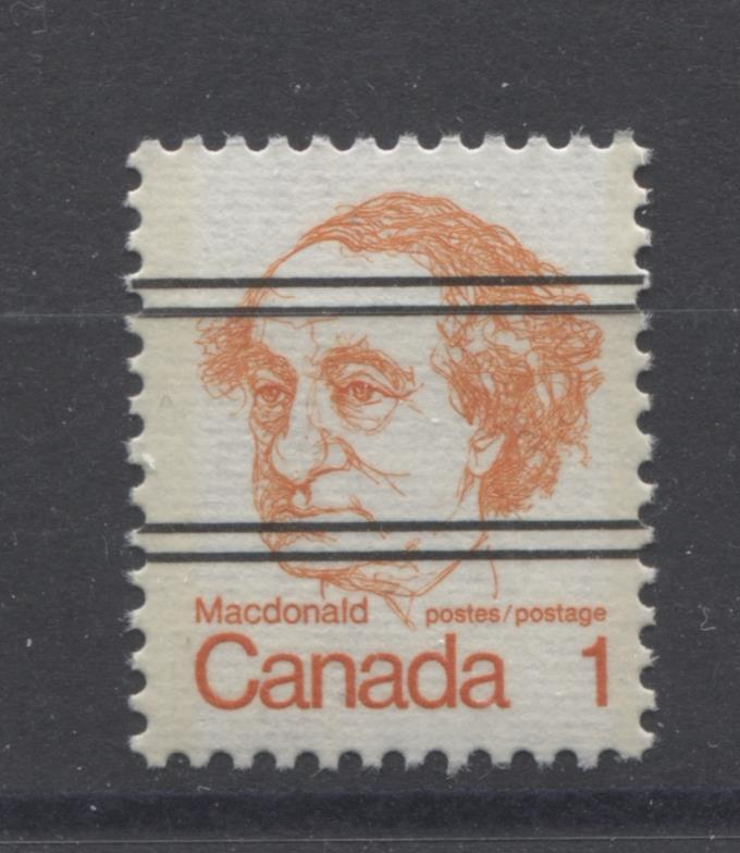 Canada #586xxii (SG#693) 1c Macdonald 1972-1978 Caricature Issue Precancel Horizontal Ribbed Paper Type 1 VF-75 NH Brixton Chrome