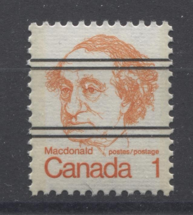 Canada #586xxii (SG#693) 1c Macdonald 1972-1978 Caricature Issue Precancel Horizontal Ribbed Paper Type 1 VF-80 NH Brixton Chrome