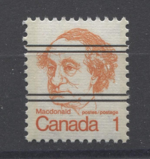 Canada #586xxii (SG#693) 1c Macdonald 1972-1978 Caricature Issue Precancel Horizontal Ribbed Paper Type 1 VF-84 NH Brixton Chrome