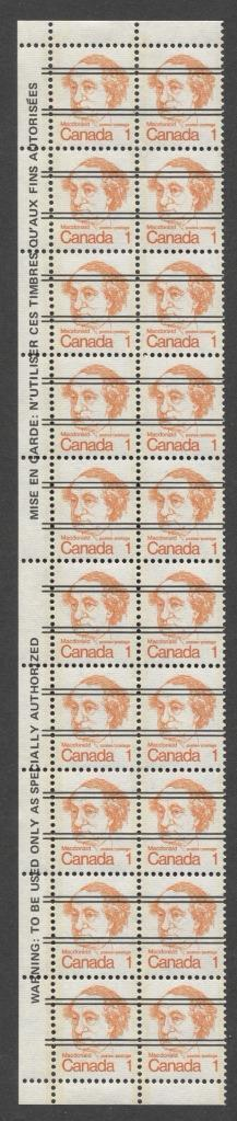 Canada #586xxii (SG#693) 1c Macdonald 1972-1978 Caricature Issue Precancel Horizontal Ribbed Paper Type 1 Warning Strip VF-80 NH Brixton Chrome