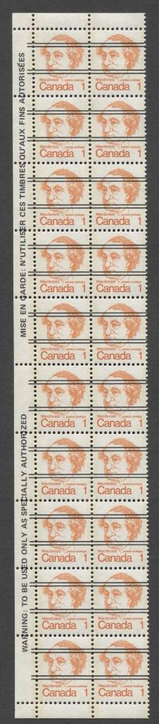 Canada #586xxii (SG#693) 1c Macdonald 1972-1978 Caricature Issue Precancel Horizontal Ribbed Paper Type 1 Warning Strip VF-84 NH Brixton Chrome