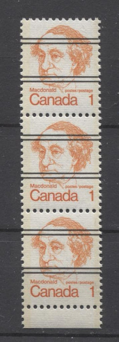 Canada #586xxii (SG#693) 1c Macdonald 1972-1978 Caricature Issue Precancel Horizontal Ribbed Type 1 Tagging Flaws VF-80 NH Brixton Chrome