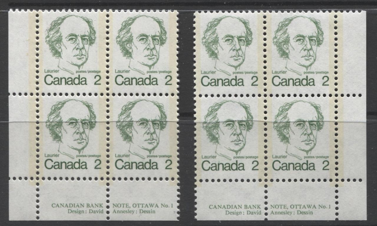 Canada #587 (SG#694) 2c Green Laurier 1972-1978 Caricature Issue MF/LF Paper Type 2 & 5 Plate 1 Blocks VF-75 NH Brixton Chrome