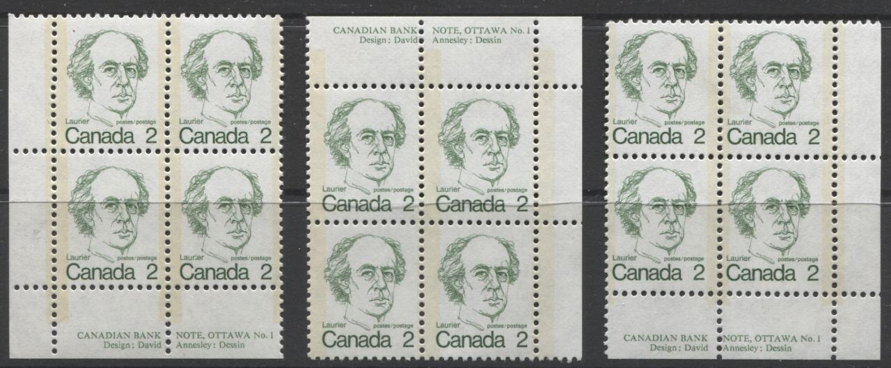 Canada #587 (SG#694) 2c Green Laurier 1972-1978 Caricature Issue MF/LF Paper Type 3 & 9 Blocks F-70 NH Brixton Chrome