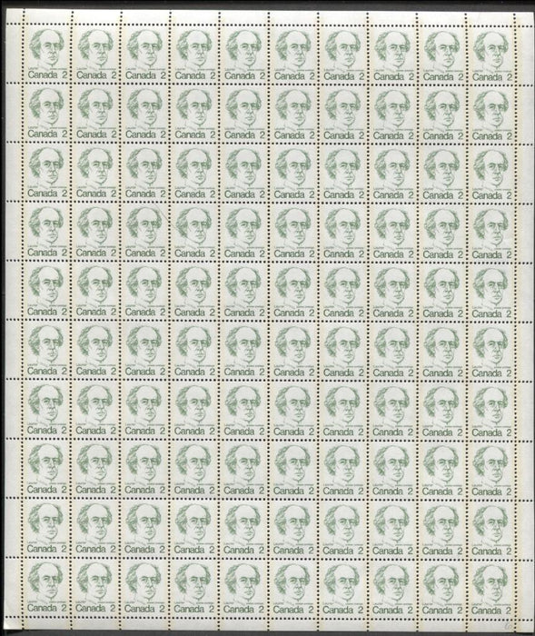 Canada #587ii (SG#694) 2c Green Laurier 1972-1978 Caricature Issue DF/NF Paper Type 3 Full Sheet VF-80 NH Brixton Chrome