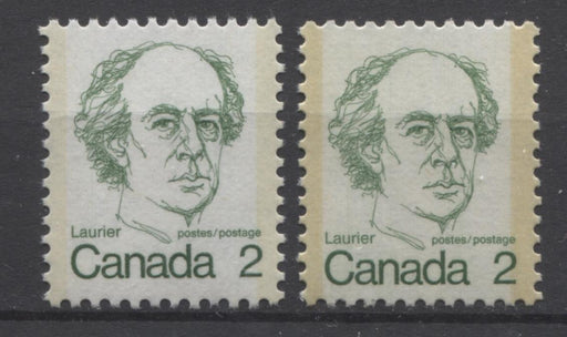 Canada #587iii (SG#694) 2c Green Laurier 1972-1978 Caricature Issue DF Paper Types 5 & 14 VF-80 NH Brixton Chrome