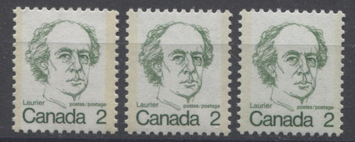 Canada #587ix (SG#694) 2c Green Laurier 1972-1978 Caricature Issue DF/F Paper Types 1, 4 & 5 VF-75 NH Brixton Chrome