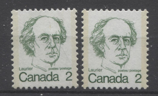 Canada #587ix (SG#694) 2c Green Laurier 1972-1978 Caricature Issue DF/F Paper Types 1 & 5 VF-80 NH Brixton Chrome