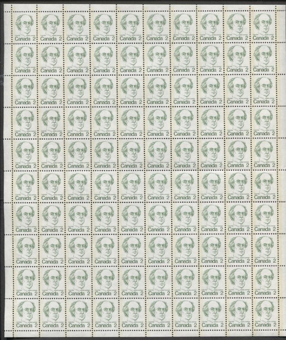 Canada #587v (SG#694) 2c Green Laurier 1972-1978 Caricature Issue DF Ribbed Paper Type 1 Full Sheet VF-75 NH Brixton Chrome