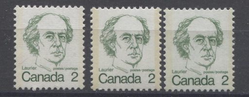 Canada #587v, vi, ix (SG#694) 2c Green Laurier 1972-1978 Caricature Issue 3 Paper Types VF-75/80 NH Brixton Chrome