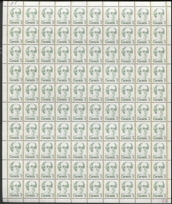 Canada #587vi (SG#694) 2c Green Laurier 1972-1978 Caricature Issue HF Paper Type 3 Full Sheet F-70 NH Brixton Chrome