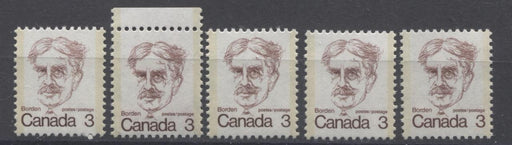 Canada #588, iii (SG#695) 3c Maroon Borden 1972-1978 Caricature Issue 5 Different Papers/Shades VF-75 NH Brixton Chrome