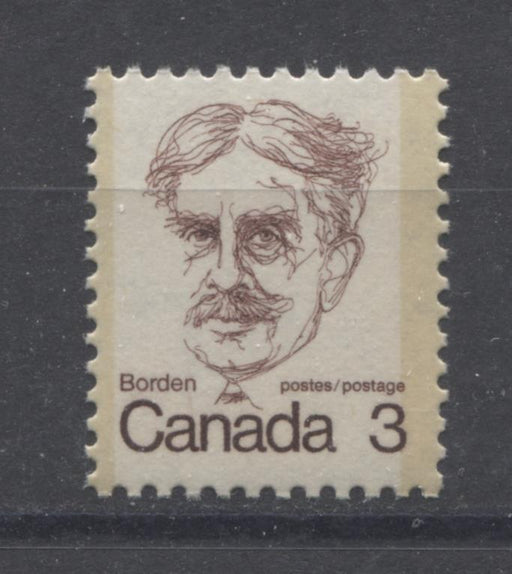 Canada #588i (SG#695) 3c Maroon Borden 1972-1978 Caricature Issue NF Paper Type 1 Tag Spots F-70 NH Brixton Chrome