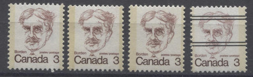 Canada #588ii, iii, xx (SG#695) 3c Maroon Borden 1972-1978 Caricature Issue 4 Different Paper Types F-70 NH Brixton Chrome