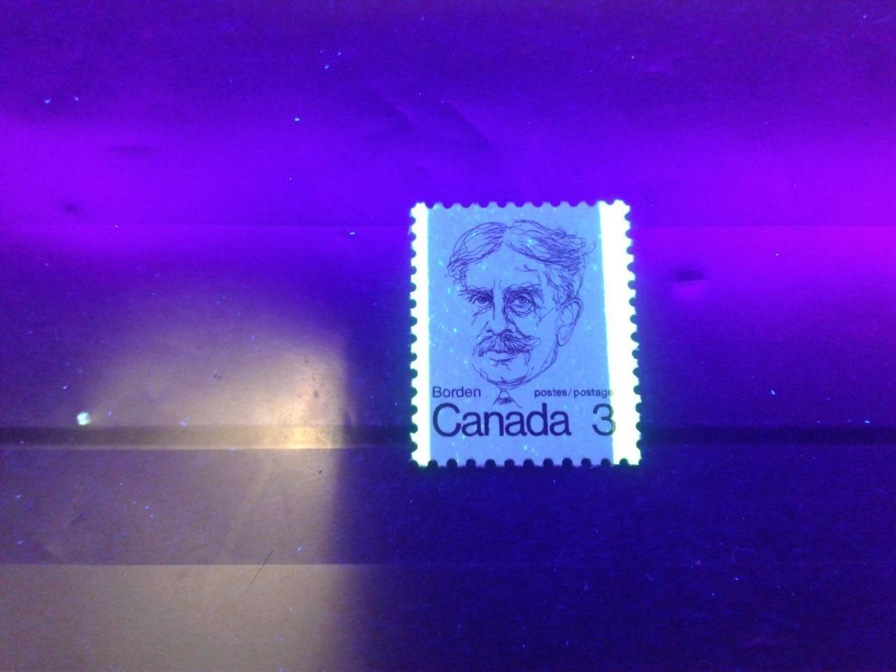 Canada #588ii (SG#695) 3c Maroon Borden 1972-1978 Caricature Issue DF/LF Paper Type 1 Tag Spots F-70 NH Brixton Chrome