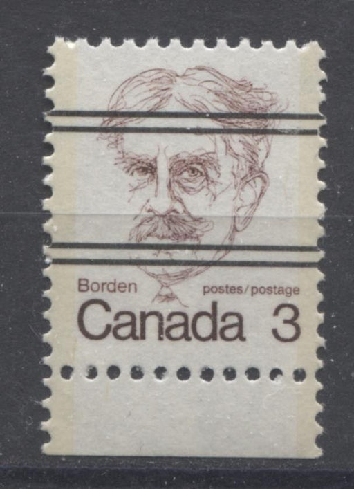Canada #588xxi (SG#695) 3c Dull Maroon Borden 1972-1978 Caricature Issue Precancel NF Paper Type 1 VF-80 NH Brixton Chrome