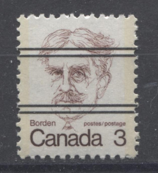 Canada #588xxi (SG#695) 3c Dull Maroon Borden 1972-1978 Caricature Issue Precancel NF Paper Type 1 VF-84 NH Brixton Chrome