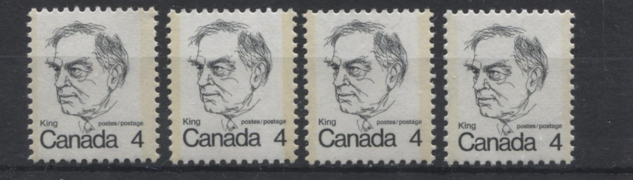 Canada #589 (SG#696) 4c Black King 1972-1978 Caricature Issue LF Paper Type 3, 5, 12 and 13 VF-75 NH Brixton Chrome