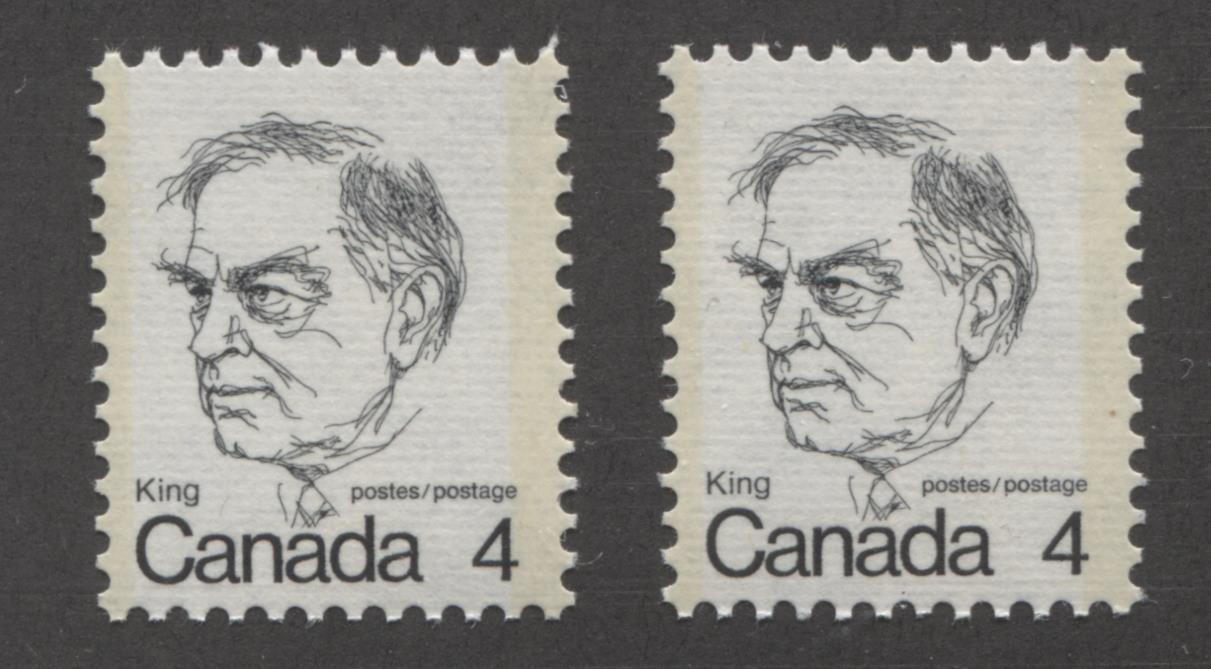 Canada #589vi (SG#696) 4c Black King 1972-1978 Caricature Issue DF/HF Ribbed Paper Tag Spots F-70 NH Brixton Chrome