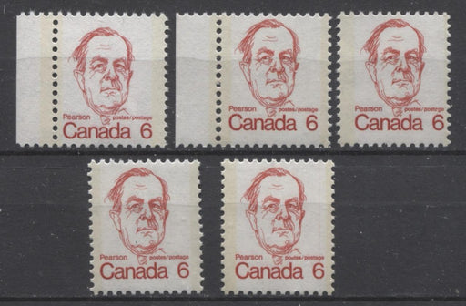 Canada #591, iii, iv (SG#698) 6c Scarlet Pearson 1972-1978 Caricature Issue 5 Different Papers F-70 NH Brixton Chrome