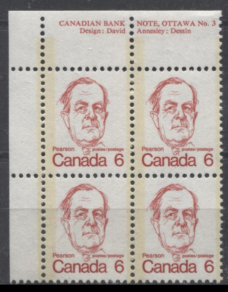 Canada #591 (SG#698) 6c Deep Rose Red Pearson 1972-1978 Caricature Issue NF Paper Type 2 Plate 3 UL VF-75 NH Brixton Chrome