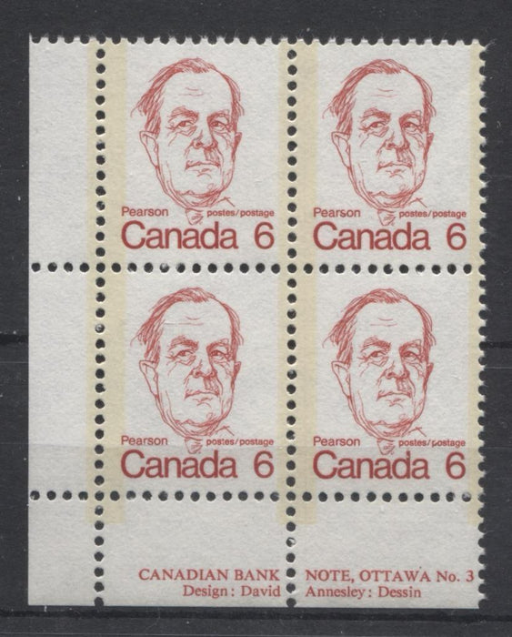 Canada #591 (SG#698) 6c Scarlet Pearson 1972-1978 Caricature Issue NF Paper Type 2 Plate 3 LL VF-75 NH Brixton Chrome