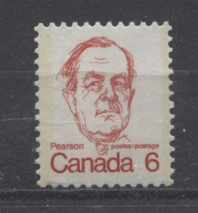 Canada #591i (SG#698) 6c Bright Scarlet Pearson 1972-1978 Caricature Issue DF Paper Type 1 VF-84 NH Brixton Chrome