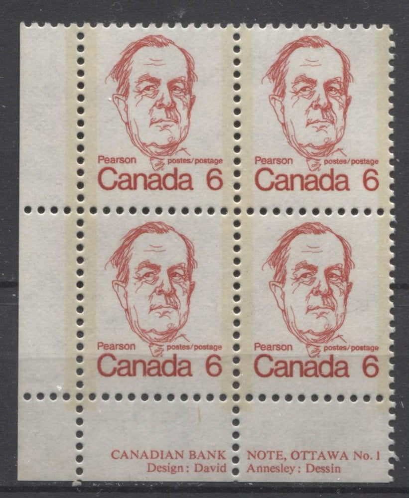 Canada #591i (SG#698) 6c Bright Scarlet Pearson 1972-1978 Caricature Issue DF Paper Type 4 Plate 1 LL VF-75 NH Brixton Chrome