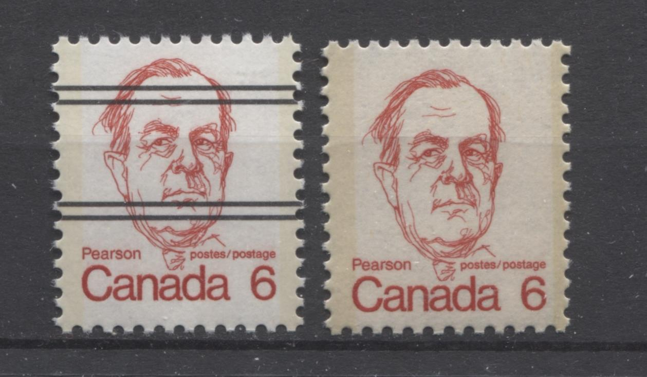 Canada #591i, xxiii (SG#698) 6c Scarlet Pearson 1972-1978 Caricature Issue DF & MF Papers VF-80 NH Brixton Chrome
