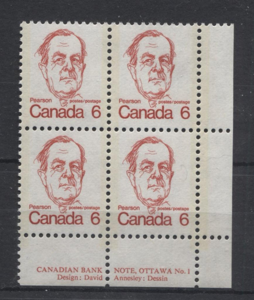 Canada #591iii (SG#698) 6c Bright Scarlet Pearson 1972-1978 Caricature Issue LF Paper Type 15 Plate 1 LR VF-75 NH Brixton Chrome