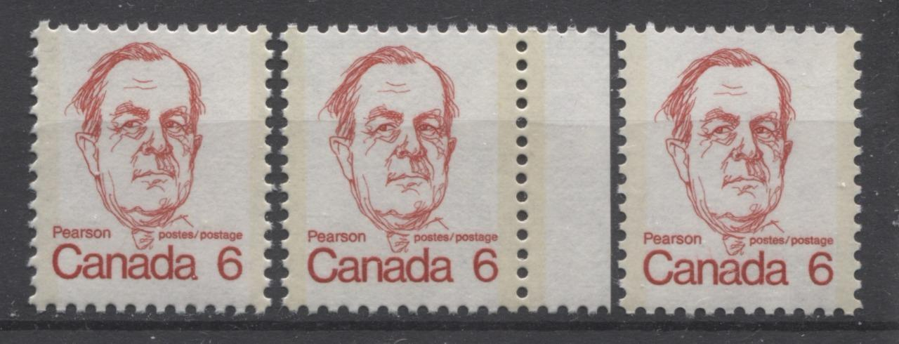 Canada #591iii (SG#698) 6c Scarlet Pearson 1972-1978 Caricature Issue LF Paper Types 2, 3 & 4 VF-75 NH Brixton Chrome