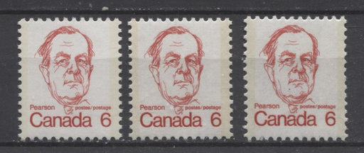 Canada #591iii (SG#698) 6c Scarlet Pearson 1972-1978 Caricature Issue LF Paper Types 9, 12 & 15 VF-75 NH Brixton Chrome