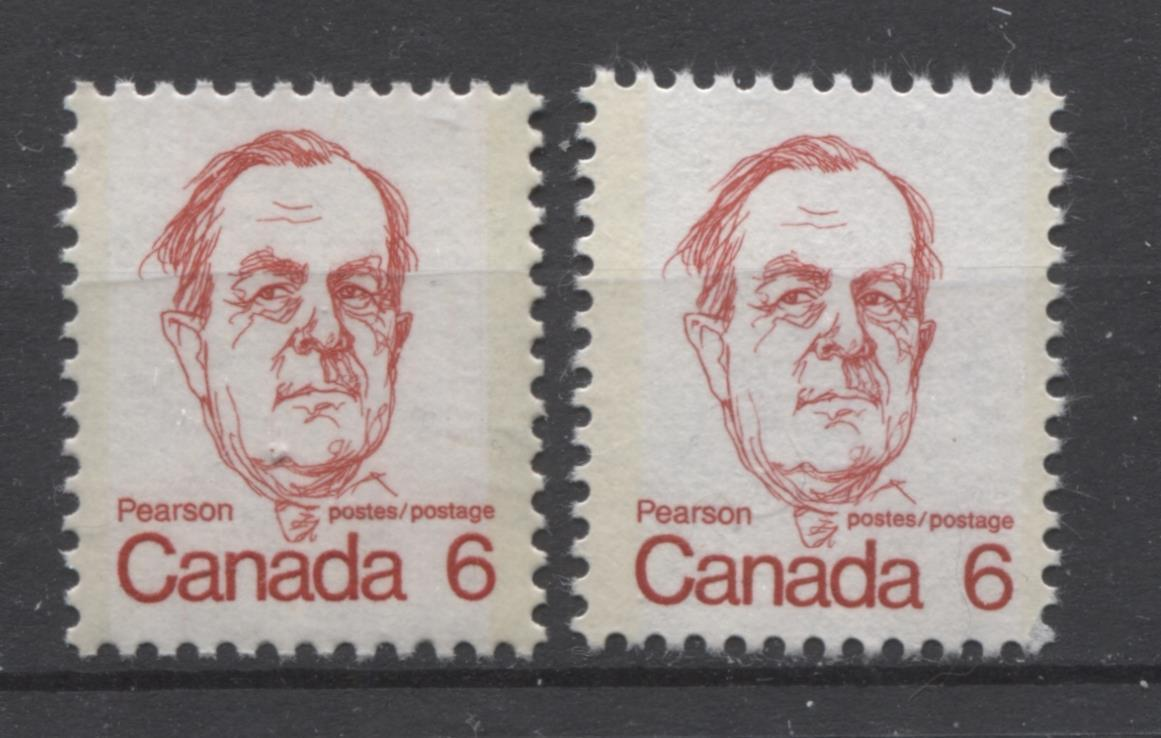 Canada #591,iii (SG#698) 6c Scarlet Pearson 1972-1978 Caricature Issue NF & LF Paper Types 1 & 7 VF-80 NH Brixton Chrome