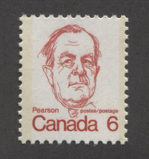 Canada #591iv (SG#698) 6c Bright Scarlet Pearson 1972-1978 Caricature Issue MF Paper Type 2 VF-75 NH Brixton Chrome