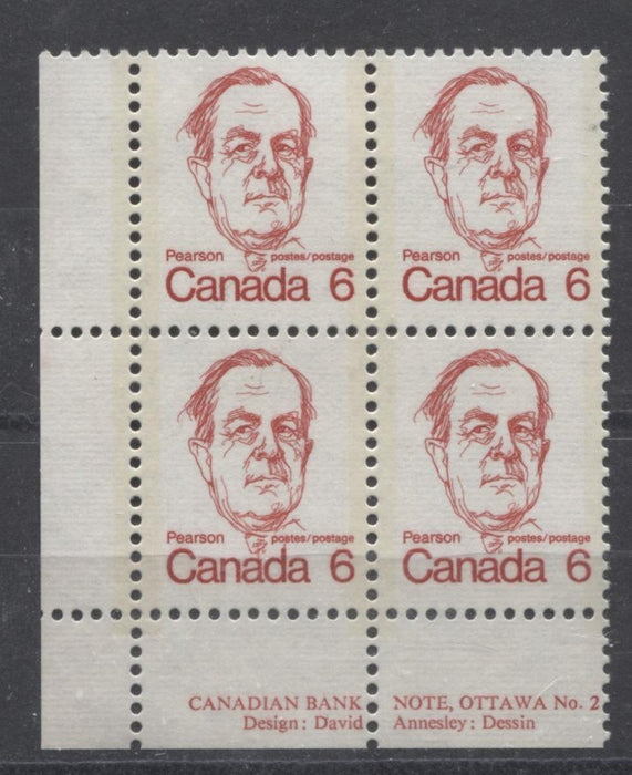 Canada #591v (SG#698) 6c Bright Scarlet Pearson 1972-1978 Caricature Issue DF/LF Paper Type 3 Plate 2 LL F-70 NH Brixton Chrome