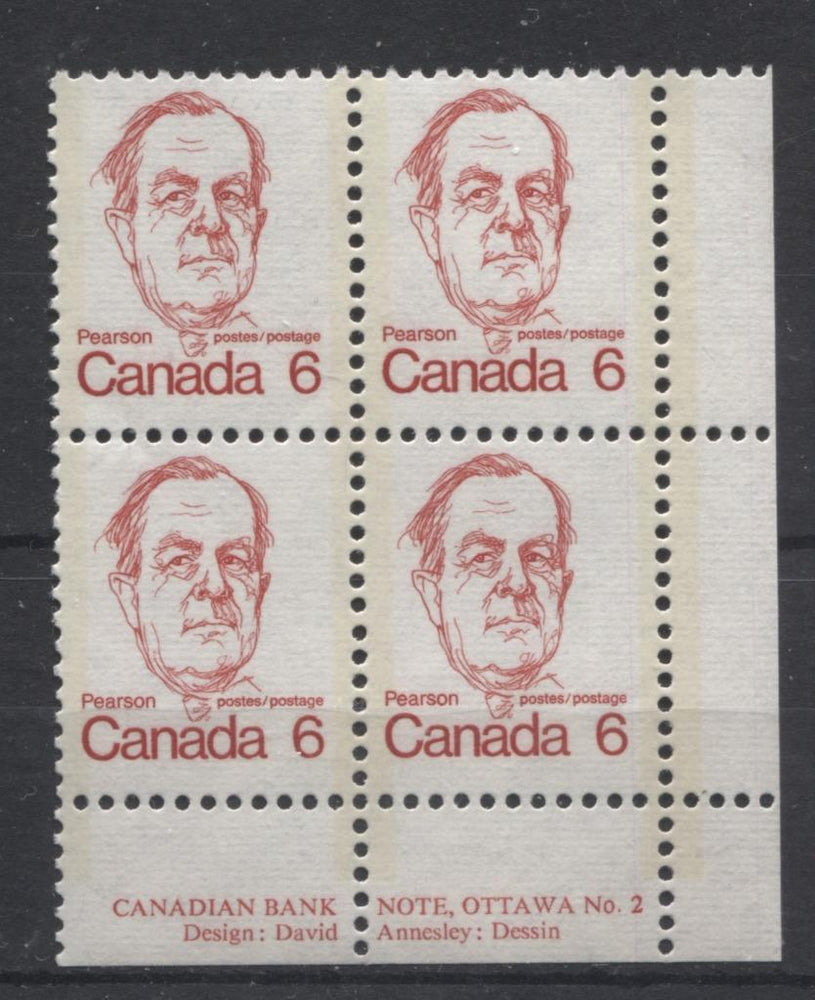 Canada #591v (SG#698) 6c Bright Scarlet Pearson 1972-1978 Caricature Issue DF/LF Paper Type 3 Plate 2 LR F-70 NH Brixton Chrome