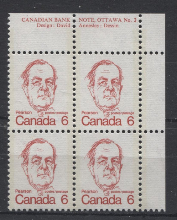 Canada #591v (SG#698) 6c Light Scarlet Pearson 1972-1978 Caricature Issue DF/LF Paper Type 1 Plate 2 UR VF-75 NH Brixton Chrome