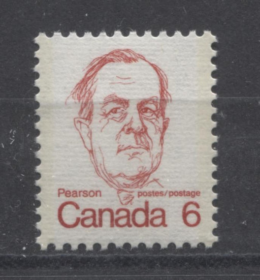 Canada #591v (SG#698) 6c Scarlet Pearson 1972-1978 Caricature Issue DF/LF Ribbed Paper Type 2 VF-84 NH Brixton Chrome