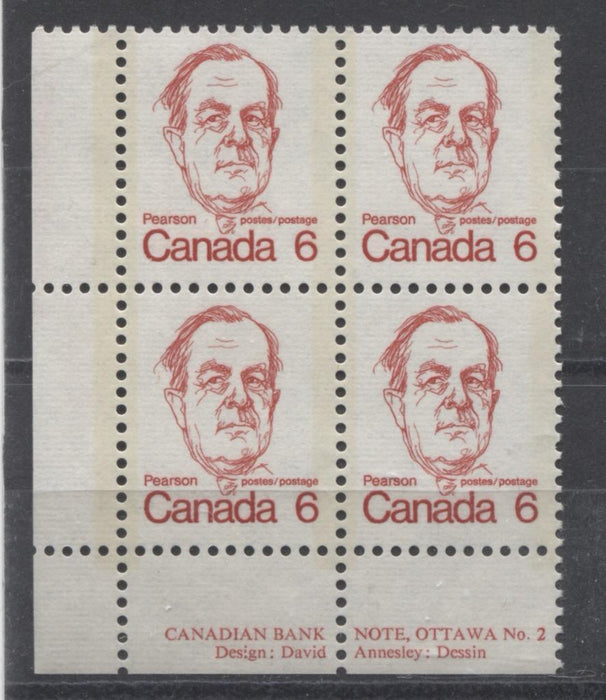 Canada #591v (SG#698) 6c Scarlet Pearson 1972-1978 Caricature Issue LL Block With Tag Streak on Back VF-75 NH Brixton Chrome