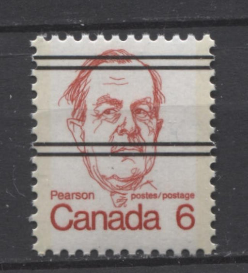 Canada #591xxiii (SG#698) 6c Scarlet Pearson 1972-1978 Caricature Issue Precancel HF Paper Type 1 VF-75 NH Brixton Chrome